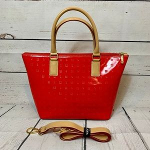 Arcadia Patent Leather Shoulder Bag Tote Purse Red